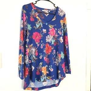 Soft Surroundings Top Tunic Birds Butterfly Floral
